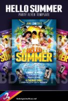 Hello Summer Party Flyer Template by AnotherBcreation
