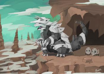 Aggron Redesign by Burrii