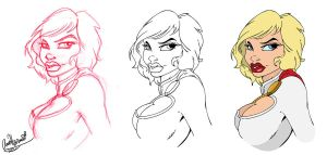 Power Girl Bust Progress by Anamated