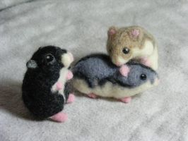 CUSTOM Needle Felted Dwarf Hamsters by CVDart1990
