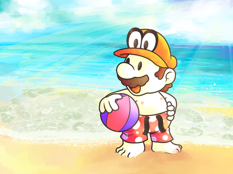 Paper Boy at the Beach by MuzYoshi