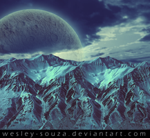 Mountains with planet in the sky premade by Wesley-Souza