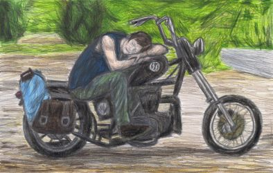 Daryl Dixon dozing off by gagambo