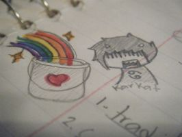 Karkat and the rainbow bucket by Hex-Sk8erGirl