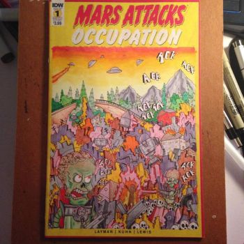 Mars Attacks Sketch Cover by johnnyism