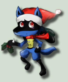 Choodle: ChristmasLucario by LittleKyvy