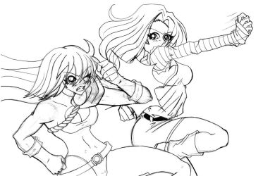 Powergirl vs. Android 18 SKETCH by the-kid36