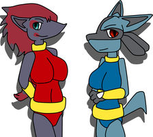 Wolf Pack: Zoroark and Lucario (normal palette) by CrashValentine