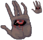 Pixel hand with an eye by VishKeks