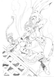 Red vs Powergirl by JeanSinclairArts