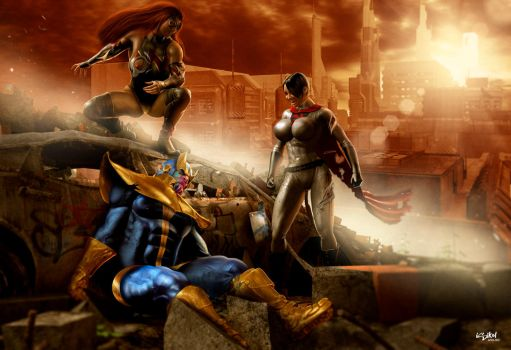 THANOS VS WALKYRIA AND SSW by ISIKOL