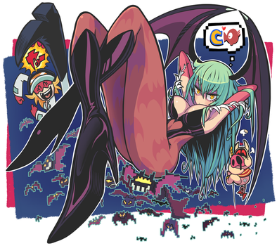 Morrigan and Yatterman1 by Gashi-gashi