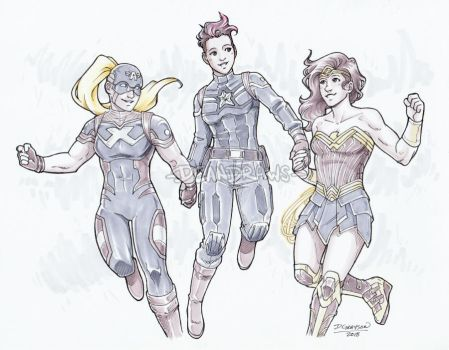 Commission - 2099!Cap, LadyCap, and Wonder Woman by DeanGrayson