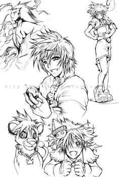 Kingdom Hearts 2 sketches by gemiange