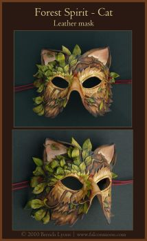 Forest Spirit Cat-Leather Mask by windfalcon