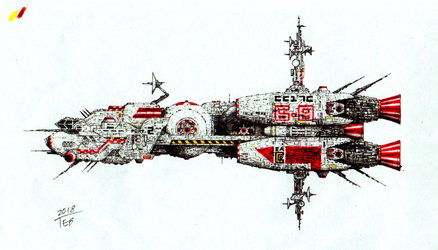 Another spaceship profile - colored version by Stingray-24