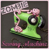 Green Zombie Sewing Machine Necklace by True-Crimeberry