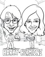 Harry Potter and Hermione Granger caricature by artbylukeski
