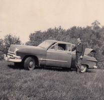 My grandfather and a 1951 Mercury Meteor by Ripplin