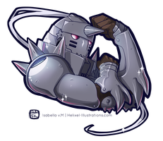 Alphonse Elric Sticker by Helixel