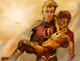 Commission: Flash And Kid Flash for UlisaBarbic by BleedingHeartworks