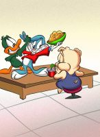 Plucky and Buster try to laugh Hampton by JuneDuck21