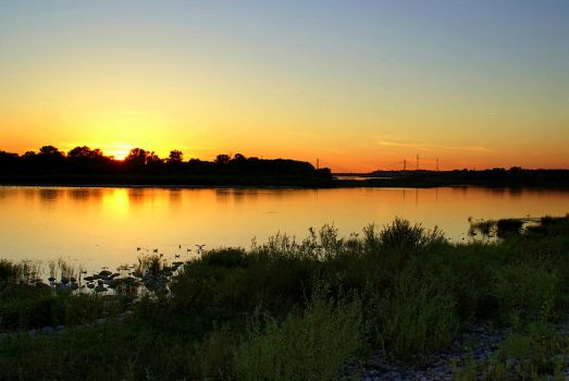 Sunset at Vistula river by Su58