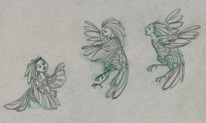 sketches for Harpy /siren Babies by snuapril01