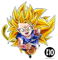 Kid Goku SSJ3 DBGT Dokkan Battle Render by BillyZar