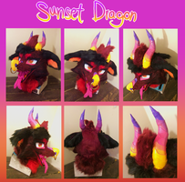 Sunset Dragon Fursuit Head Auction by MoggieDelight