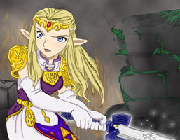 Zelda...and a sword.. by Arigato-baka