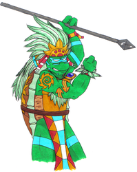 Leo as the Aztec god by Aureawolf