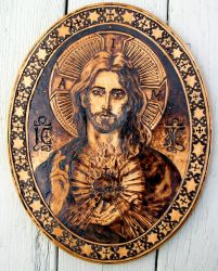 The Sacred Heart of Jesus - pyrography by Theophilia