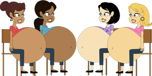 Big-Bellied Jescha, Leanne, Jadeite and Peregrine by Angry-Signs