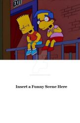 Bart and Milhouse laughing at a blank meme by cjrules10576