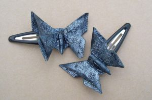 Black Butterfly Barrette by tiranaki