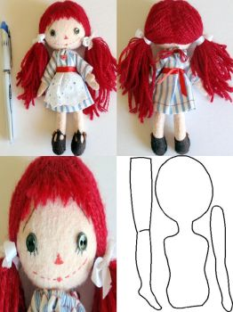 Pocket Size Raggedy Ann Doll 6.5 inches by Aikisune