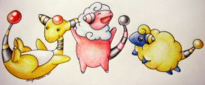 Ampharos, Flaffy, and Mareep:3