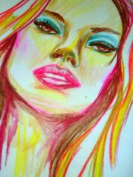 colored pencil face by dinasaur100