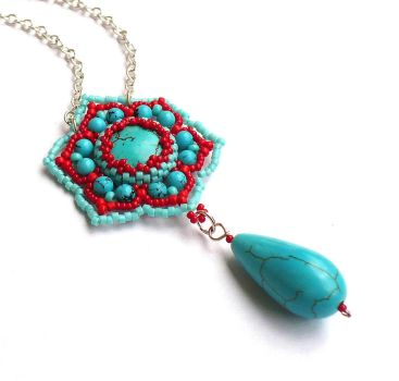 Turquoise and red pendant by moonsafaribeads