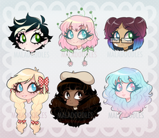 HEADSHOT ADOPTS (2/6 OPEN) by Maladoodles