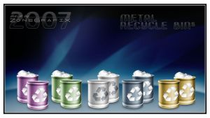 Metallic RecycleBin Set by ZoneGrafix
