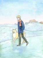A boy and his dog by akitku