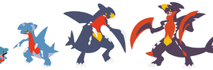 Gible, Gabite, Garchomp and Mega Garchomp Base