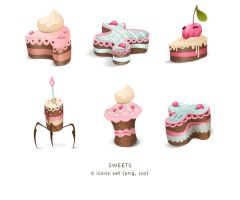 Sweets icons set by Kluke