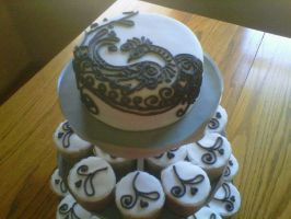 Peacock black and white cake by Cupcake-Killer