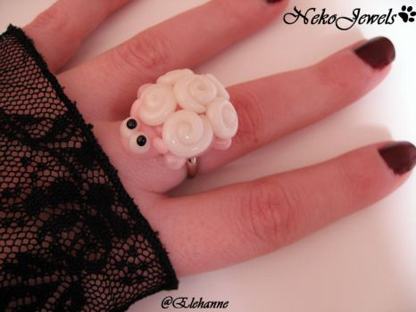 Planked White Sheep Ring by Elehanne