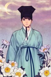 A Confucian with White peonies by theobsidian