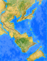 Yet another fantasy map done in GIMP by EndriuMaster