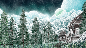 Winter, Cabin, and trees Sketch by AlterIris